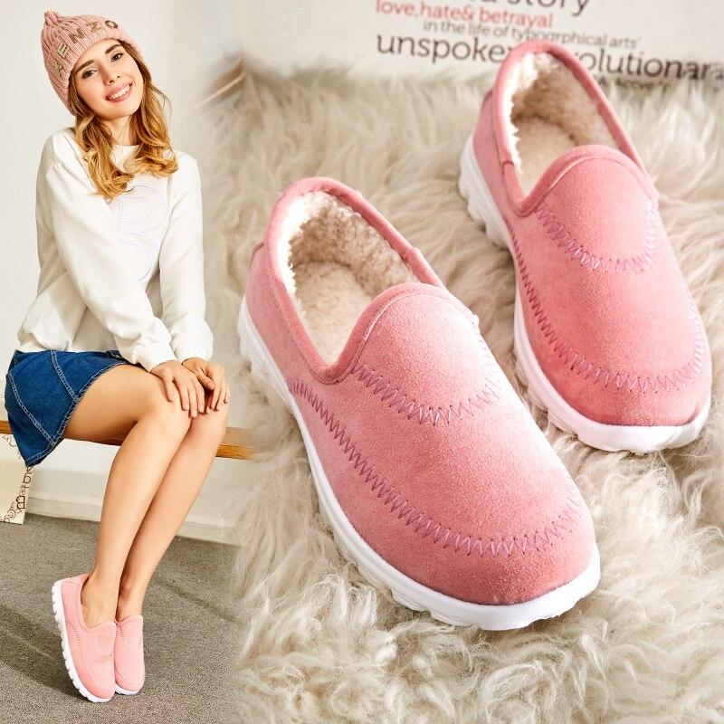 Winter font b Women b font Casual Doug Shoes plus Velvet Flat shoes Sweet Candy color