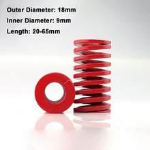 Molde de compressão de carga média vermelha, mola de compressão de 18mm de diâmetro interno 9mm, mola para carga, 1 peça 20-65mm