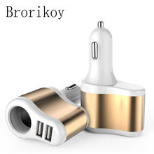 3 in 1 Metal Car Charger for iPad iPhone Samsung Xiaomi HTC Fast Charge Adapter Mobile Phone Car Cigarette Lighter Car-Charger 2 1a car cigarette powered charger charging adapter for iphone ipad cell phone mp3 pink