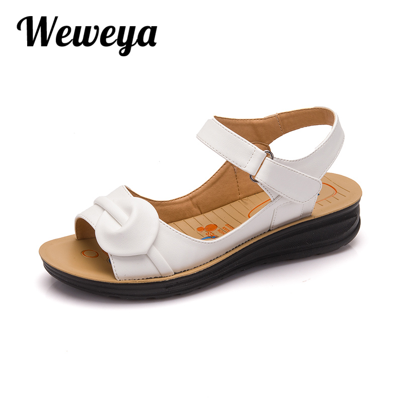 Weweya Casual Flat Sandals Summer Leather Ankle Shoes Women