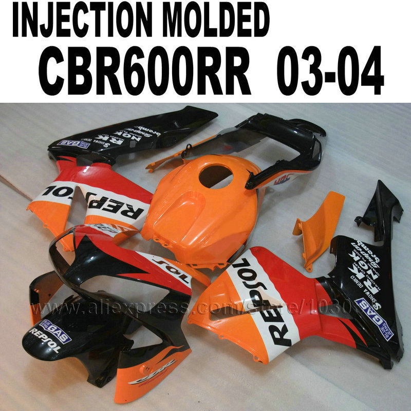 motorcycle Injection fairing kit for Honda repsol cbr600 2003 2004 CBR 600 RR 03 04 CBR600RR orange red fairings parts arashi motorcycle parts radiator grille protective cover grill guard protector for 2003 2004 2005 2006 honda cbr600rr cbr 600 rr