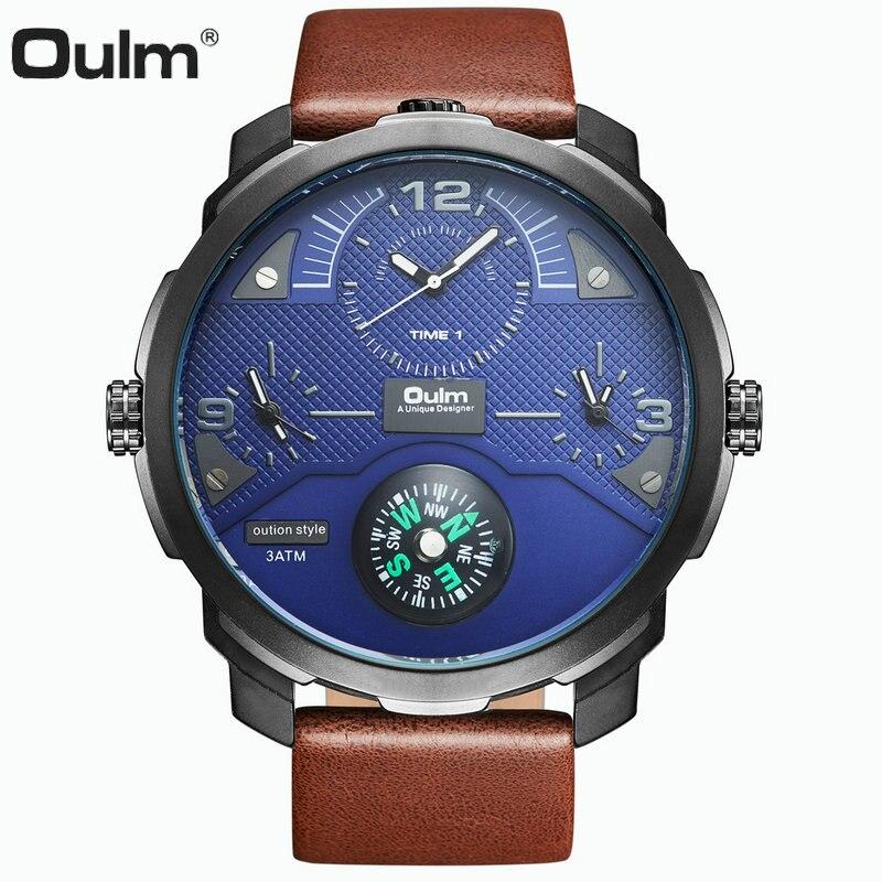 OULM Outdoor Sports Compass Quartz Watch Men 3 Time Zones Blue Dial Oversize Top Brand Luxury Fashion Waterproof Wrist Watches стоимость