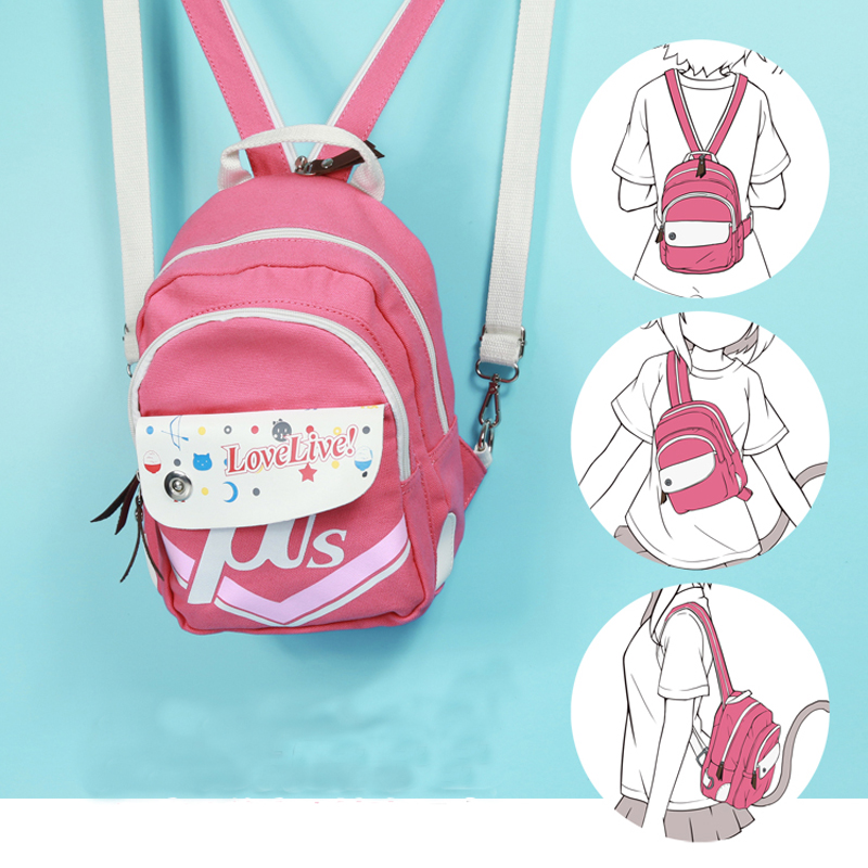Hot Anime Love Live Kawaii Kotori Minami Ayase Eli Pink Printing Mini Backpacks For Teenage Girls Mochila Canvas School Bags