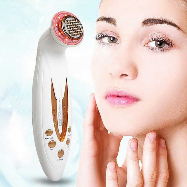 White and Gold Design Face Lifting Photon Massager