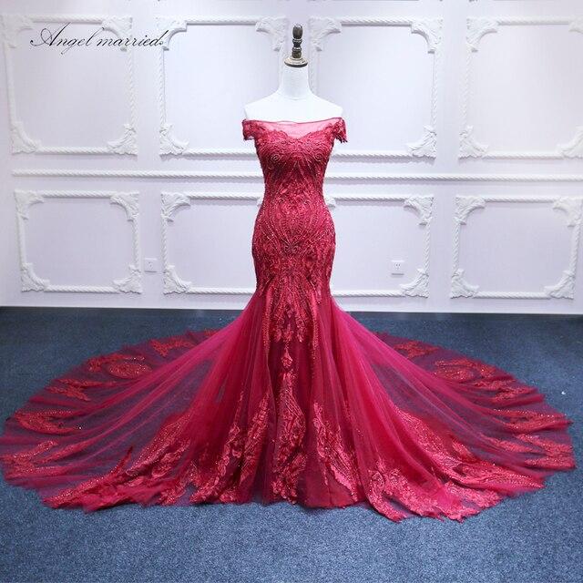 Ange marié de mode Robes de Soirée bateau cou sirène de bal robes dentelle tulle femmes formelle parti robe robe de festa longo
