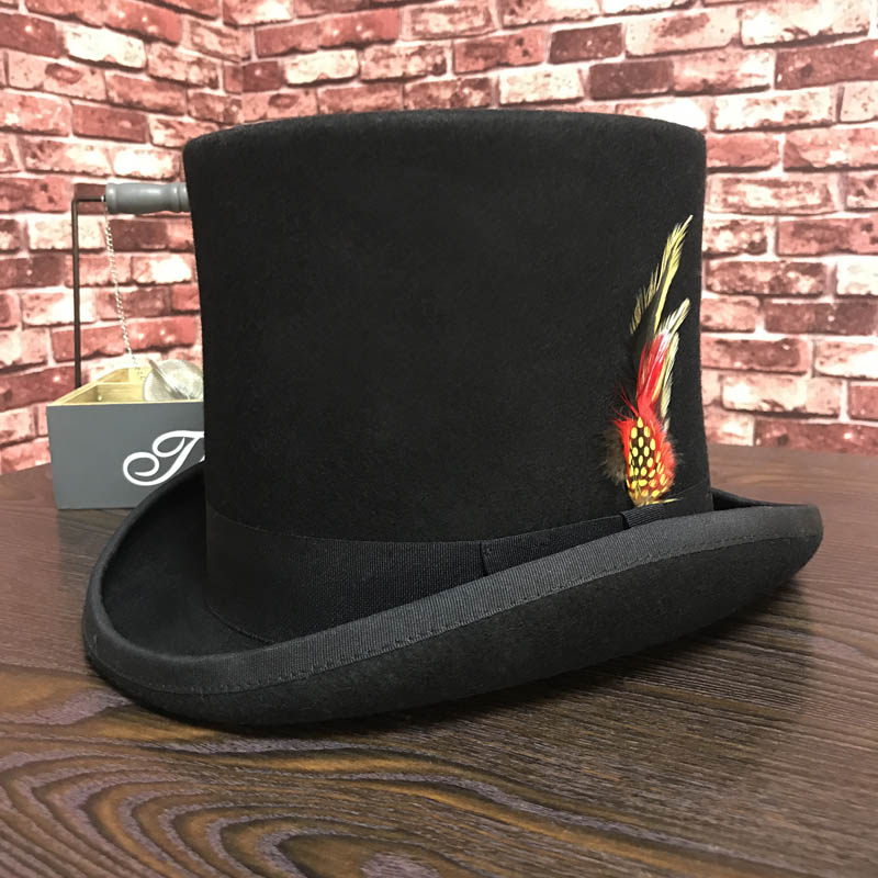 Black Men Woolen Fedora Hat Flat Mad Hatter Top Hat Traditional President Party Hat Steampunk Magic Hat with feather|Men