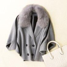 Fox Fur Collar Cardigan Coat for Women Drop-shoulder Camel Cashmere Manteau Femme Knitted Mink Cashmere Coat With   9036