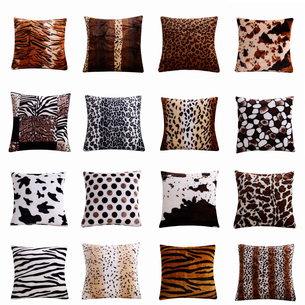 43x43cm Soft Short Velvet Leopard Dots Leaf Pattern Throw Pillow Cushion Cover Seat Car Home Sofa Bed Decorative Pillowcase