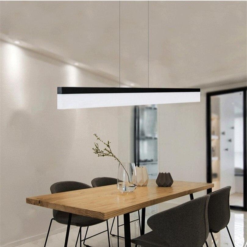 Nordique moderne pendentif lumières LED minimaliste salon longue bande Restaurant bureau Hanglamp créatif salle à manger suspension lampe - 2
