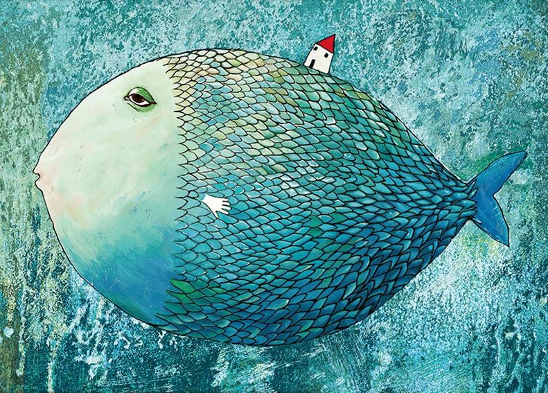 60*50cm DIY Full Drill Diamond Painting Cross Stitch Big fish house Printed Draw Picture Round Rhinestones Embroidery