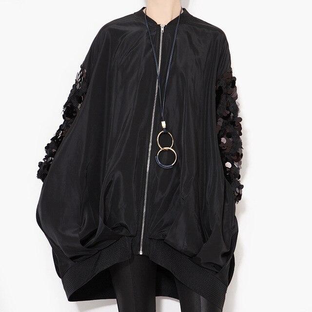 [XITAO] 2016 Осень новый улица пальто рукав блестками воротник с длинными рукавами свободные плюс размер молния куртка женщин оптовая LLB-127