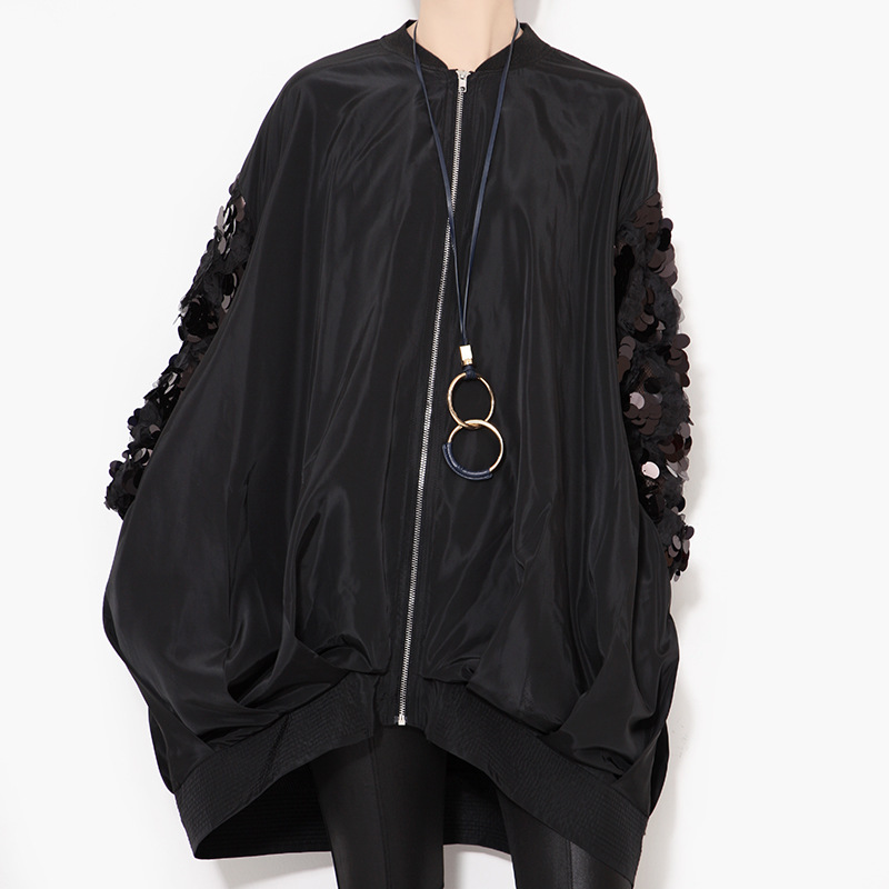 XITAO 2016 Autumn new street coat sleeve sequined collar long sleeved loose plus size zipper