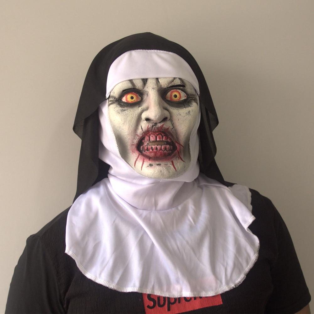 adult the nun valak cosplay costumes latex mask horrible terror