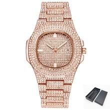Hip Hope Bling ice-out алмазные часы мужские розовое золото из нержавеющей стали мужские s мужские кварцевые часы бизнес relojes hombre мужские часы