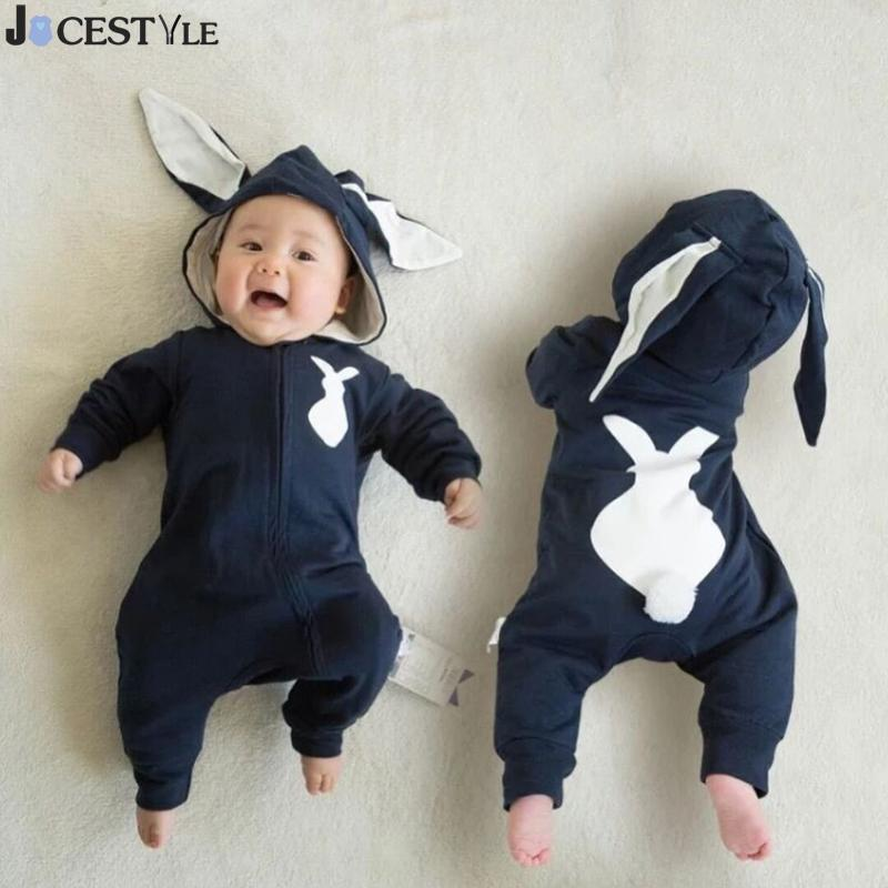 Newborn Infant Baby Girl Boy Clothes Cute 3D Bunny Ear Romper Jumpsuit Playsuit Spring Autumn Warm Rompers One Piece