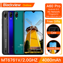 Blackview A60 Pro Original Smartphone 3GB+16GB MT6761V Cellphone Android 9.0 Waterdrop Screen 4080mAh Touch ID 4G Mobile Phone