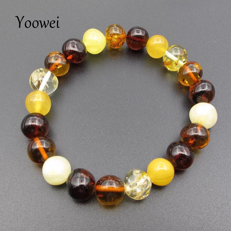 Genuine Baltic Amber and Wood Multi Colored Chunky Bracelet