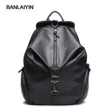 Женщины рюкзак высокое качество искусственная кожа черный школьные сумки для подростков девочек топ-ручка рюкзаки модные сумки на плечо