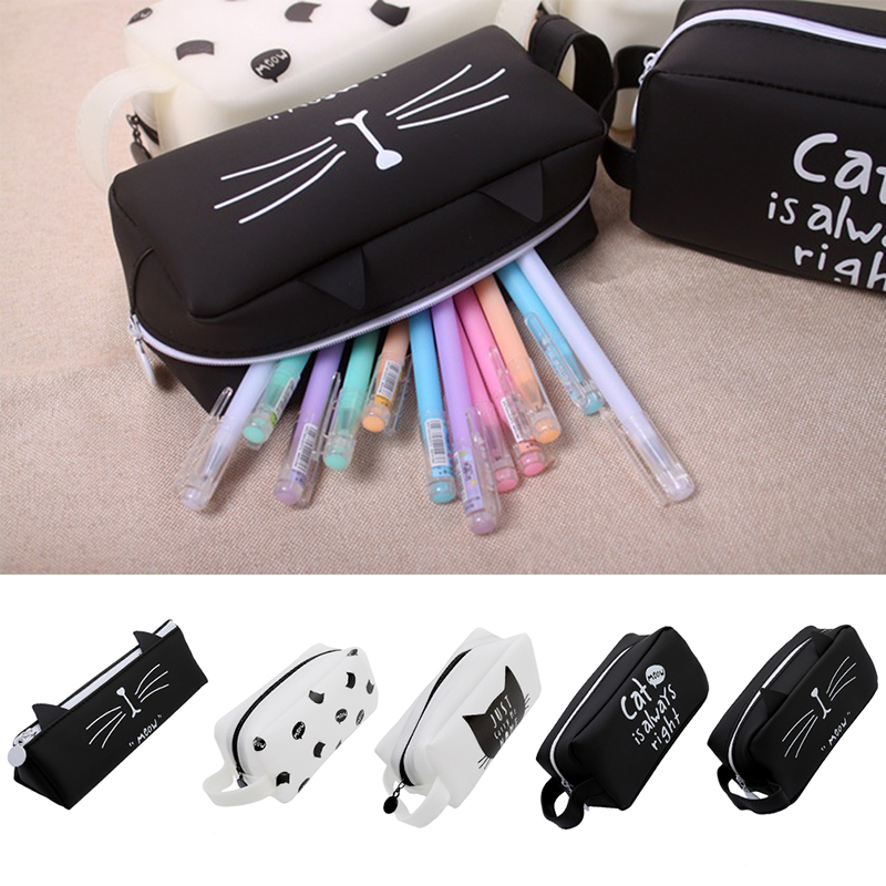 Cute Cat Cosmetic Bag Women Travel Wash Pouch Female Bath Cosmetics MakeUp Bag Student Pencil Case Tote Style Toiletry Bag