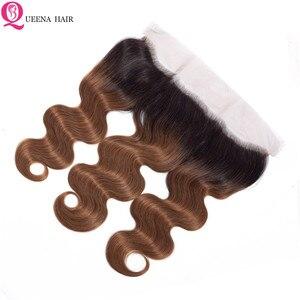 Image 5 - สีOmbre Human Hair Bundlesกับปิดหน้าผากบราซิลBody WaveHairรวมกลุ่มกับการปิดหน้าผาก4ชุดที่มีด้านหน้า