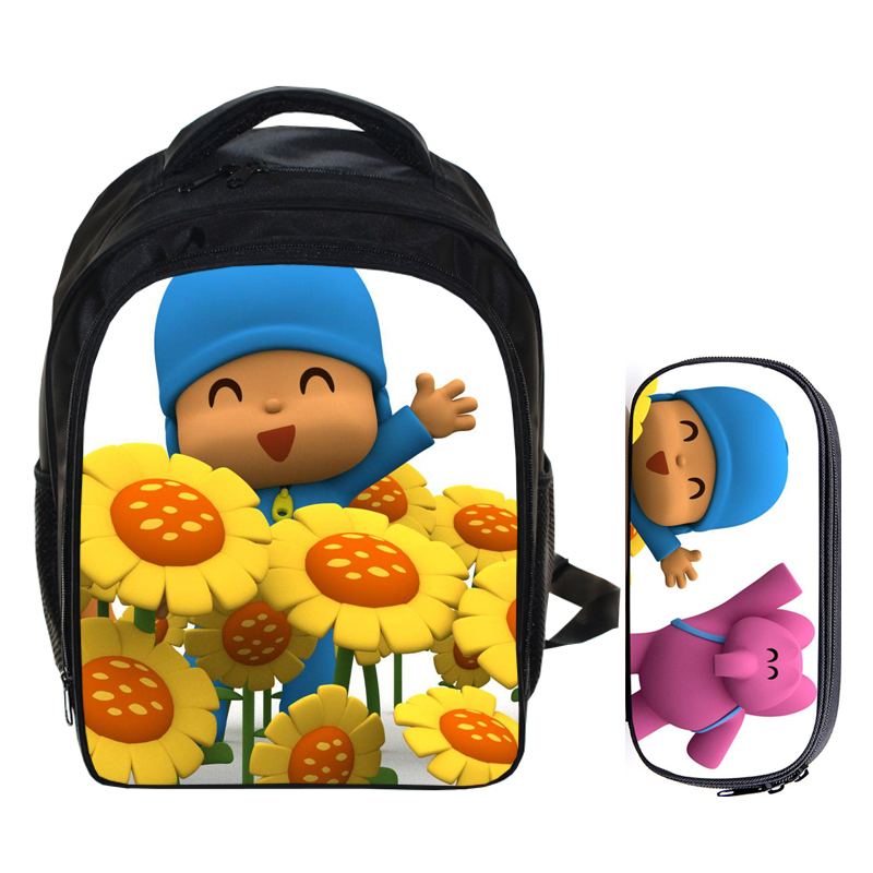 13 Inch Pocoyo Elly Pato Loula Backpack Boys Girls Daily Backpacks Kids Best Gift Kindergarten Backpack Pencil Bag Sets