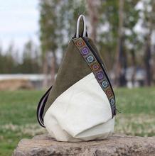 Nuovo stile nazionale di modo della tela di canapa zaino portatile borsa delle signore di sacchetto di spalla del Burlone borsa studente