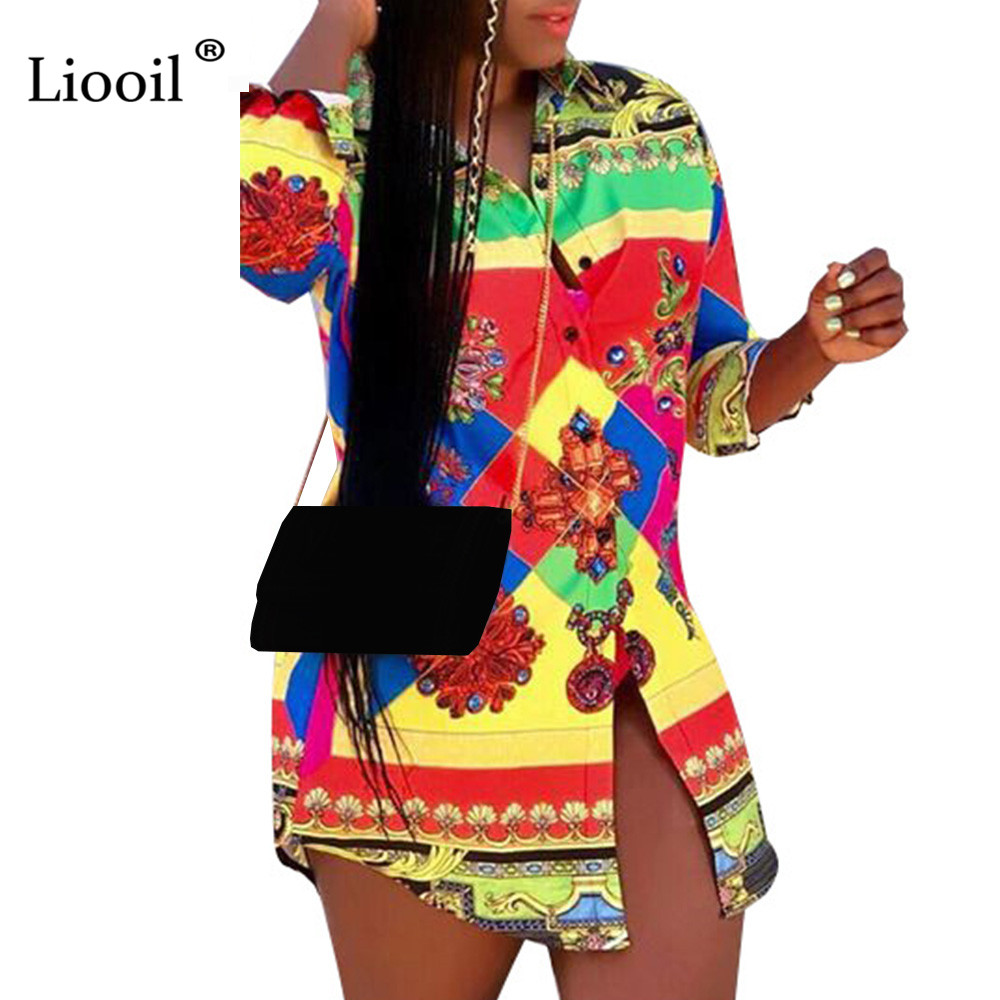 Liooil Plus Size Print Shirt <font><b>Dress</b></font> Women New Arrival 2019 High Waist <font><b>Mini</b></font> <font><b>Dress</b></font> <font><b>Sexy</b></font> <font><b>Club</b></font> <font><b>Wear</b></font> Tshirt <font><b>Dresses</b></font> Woman Party Night image