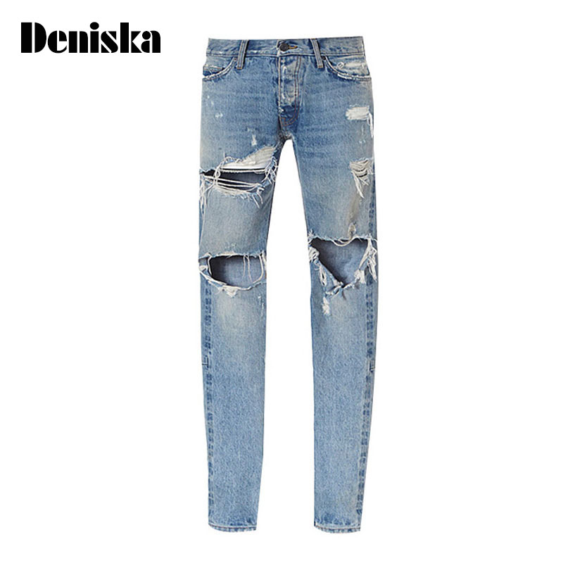 ФОТО Kanye West Justin Bieber Fear Of God Men Jeans Washed Ripped Casual Jeans Street Style Side Zipper Fashion Man Brand Jeans