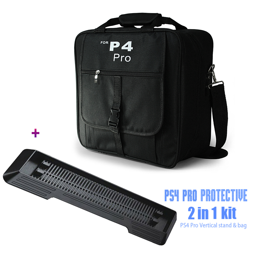 Game Accessories PS4 Pro Travel Case Shoulder Bag For Sony PS4 Playstation & PS4 Slim + One Vertical Stand Mount for PS4 Pro