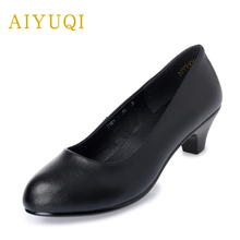AIYUQI Big size 41#42#43# women shoe 2019 new geuine leather shoes women heels medium heels round head soft bottom work shoes 2018 women shoes black work super high heels shoes woman sweet bow single shoes big size 32 43 46 47 leather shoes red bottom