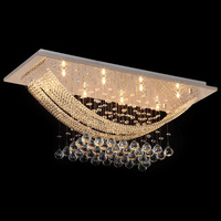Modern Square Ceiling Crystal Chandeliers with 8 Lights G9 Mount Flush Chandelier for Living Room Bedroom Dining Room