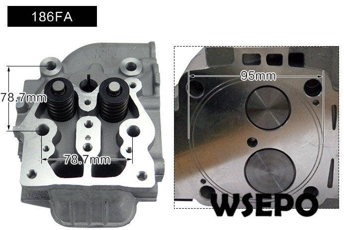 цена на Top Quality! Cylinder Head Assy(incl. valves etc) for 186FA 9HP Air Cooled 04 stroke Diesel Engine, 5.5KW Diesel Generator Parts