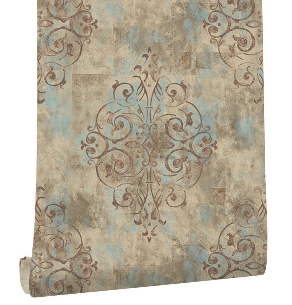 HaokHome Vintage French Damask Wallpaper 0.53m*10m Contact paper Brown/Beige Living Room Bedroom Home Bathroom Decor haokhome modern luxury heavy texture victorian damask wallpaper black gold brown silver 3d living room bedroom home art decor