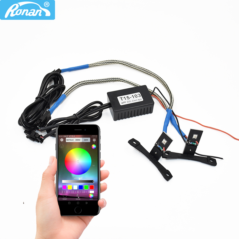 RONAN APP RGB T LED Devil Eyes Demon Eye High Quality Color Change by Cellphone Control for HID Bi Xenon Projector Lens DIY