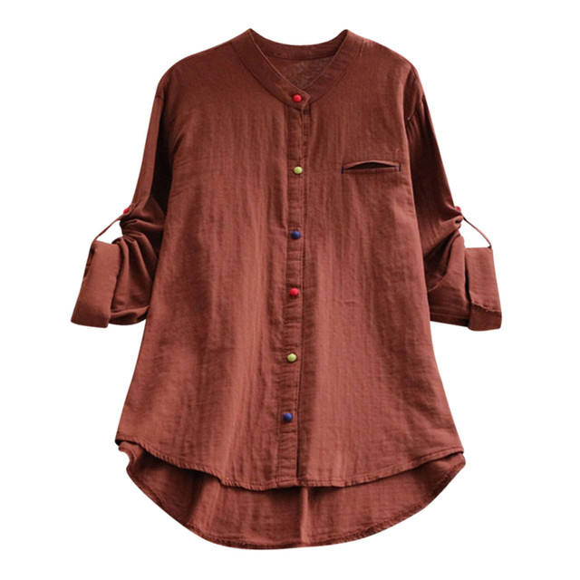 168883a335ab8f Plus Size Womens Tops and Blouses Ladies Tops Linen V Neck Button Long  Sleeve Blouse Shirt Fashion Tunic clothing Blouse Femme