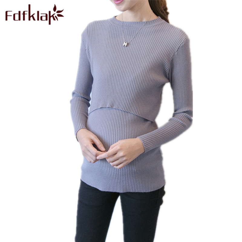 Fdfklak Maternity Clothes Autumn Winter Maternity Sweater 2018 New Nursing Kint Pullovers Clothes For Pregnant Women F49