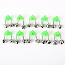 10 Pcs Fishing Rod Bells Fishing Bite Alarms Rod Clamp Tip Clip Bells Ring Green ABS Fishing Accessory