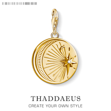 Amuleto Vintage de Luna y estrella para mujeres y hombres, joyería de moda de plata esterlina 925 color dorado, pulsera, collar, llavero con cadena para el teléfono