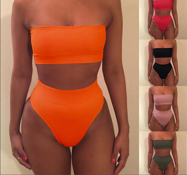 2018 New Bikini Strapless Swimwear Women Solid 6 Color Swimsuit $4.39 Per Piece New Item Sexy Off Shoulder Bathing Suit