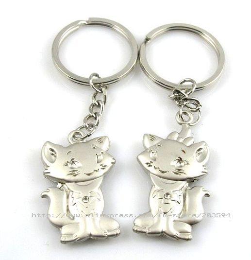 s6714 Cute Cat Key Chain )Key Ring Cute Pet Alloy Pair Chain