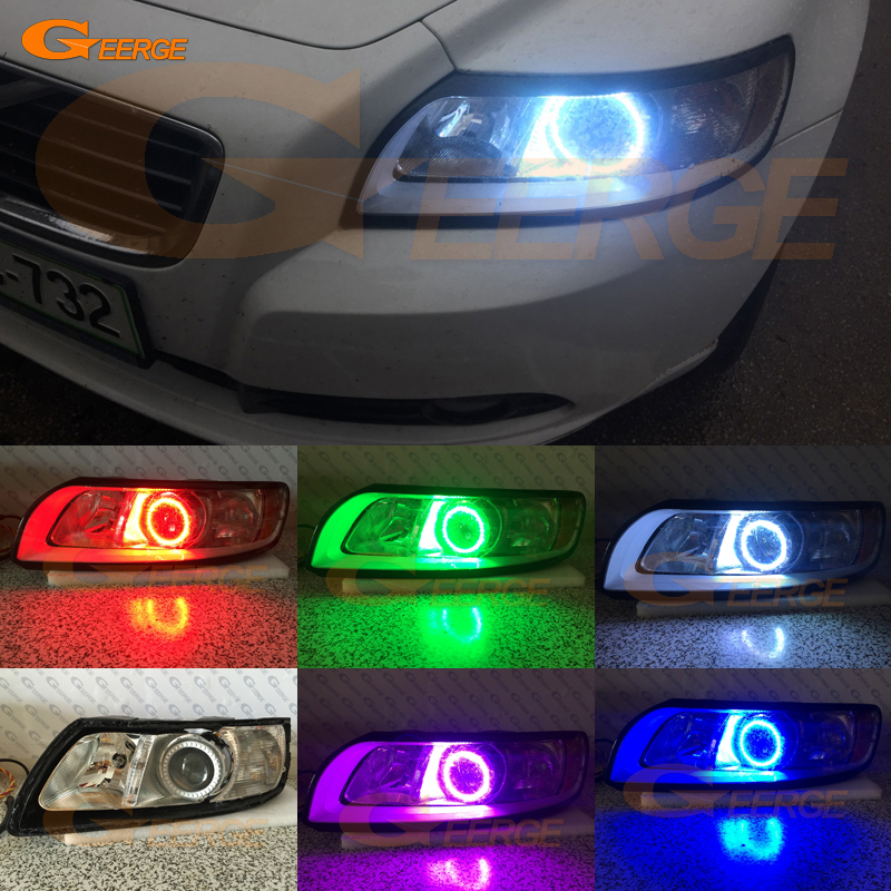 For Volvo S40 V50 2008 2009 2010 2011 HALOGEN headlight Excellent Angel Eyes Multi-Color Ultra bright RGB LED Angel Eyes kit for lifan 620 solano 2008 2009 2010 2012 2013 2014 excellent angel eyes multi color ultra bright rgb led angel eyes kit