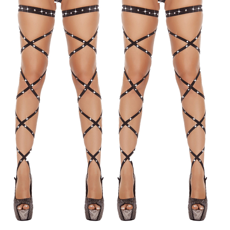 Women Lingerie Bandage Fishnet Elastic Stockings Fish Net Tights High Rhinestone Multicolor Leg Wraps