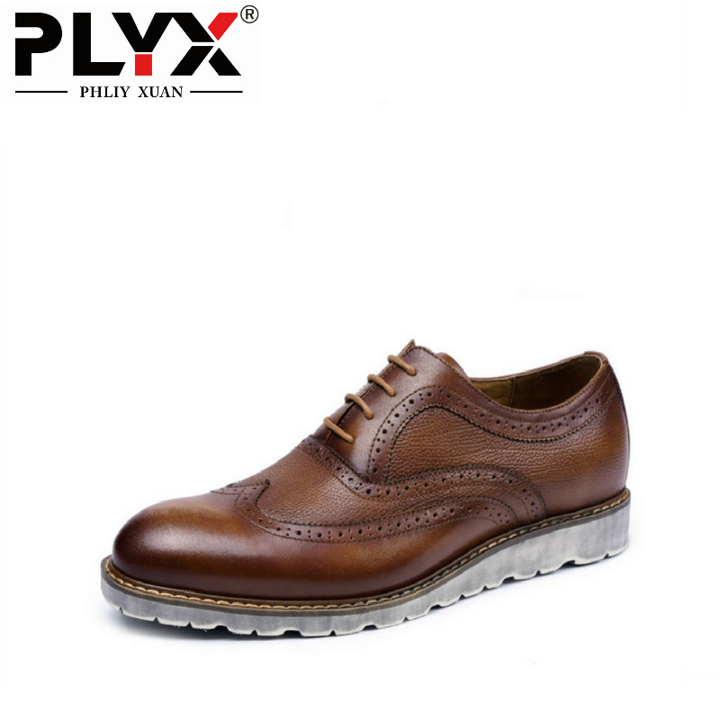 PHLIY XUAN 2018 Handmade Retro British Style Men Casual Shoes 100% Genuine Leather Hand Carved Men Brogue Shoes Chaussure Homm fs british style 100