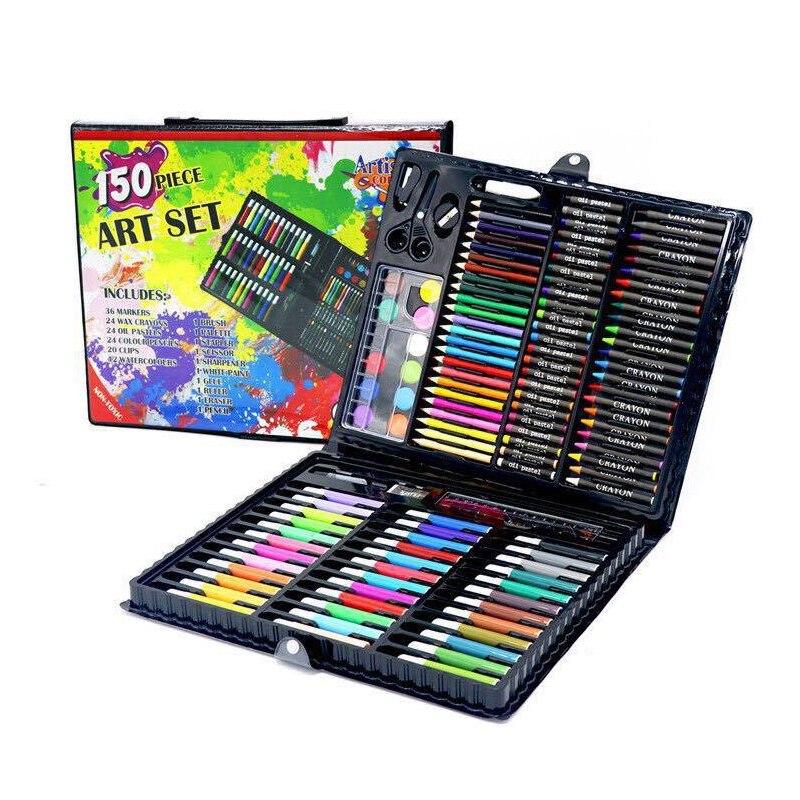 150 pièces enfants Art dessin ensemble marqueur aquarelle pinceau stylo Crayons pour enfants cadeau boîte peinture outils Art fournitures