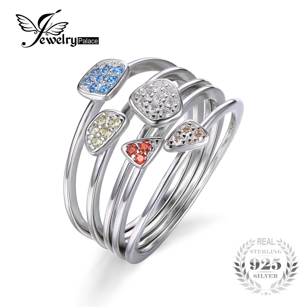 JewelryPalace Fashion Flerfarget 4 stk Stackbale Ring Sett Solid 925 Sterling Silver 2016 Fine smykker Gave til kvinner Hot Sale