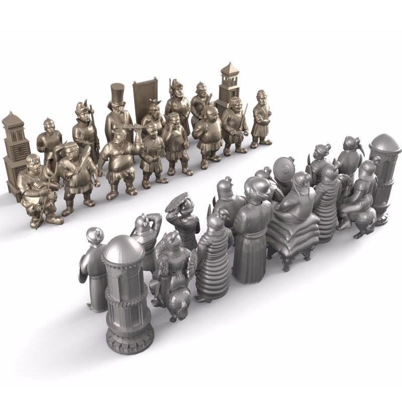 Personalized Chess 3D Model For 4 Axis Circular Diagram 3D Carved Sculpture Cnc Machine In STL File
