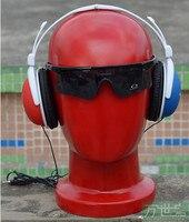 Free Shipping!!Best Quality Fashionable Male Manikin Head Mannequin Fiberglass Head For Display Glass & Earphone