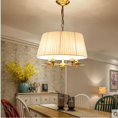 Nordic Copper Pendant Lights American Village Cloth round  Continental Simple Restaurant Pendant lamps LO7162