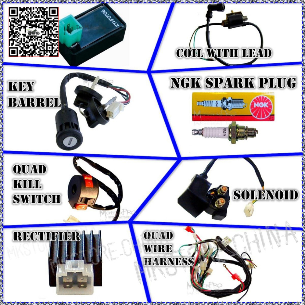 50cc 70cc 110cc 125cc atv quad electric full set parts wire cdi ignition coil rely rectifier key function switch spark plug in atv parts accessories  [ 1000 x 1000 Pixel ]