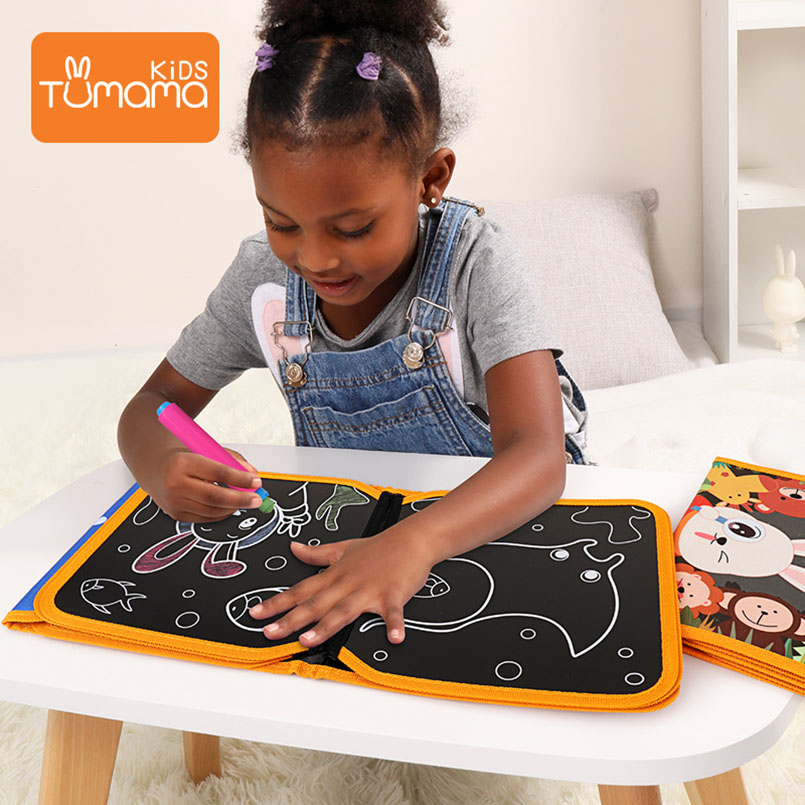 Tumama Cloth Books Portable Blackboard Book Can Repeatable Painting Educational Toys For Children Multifunction Montessori Toys